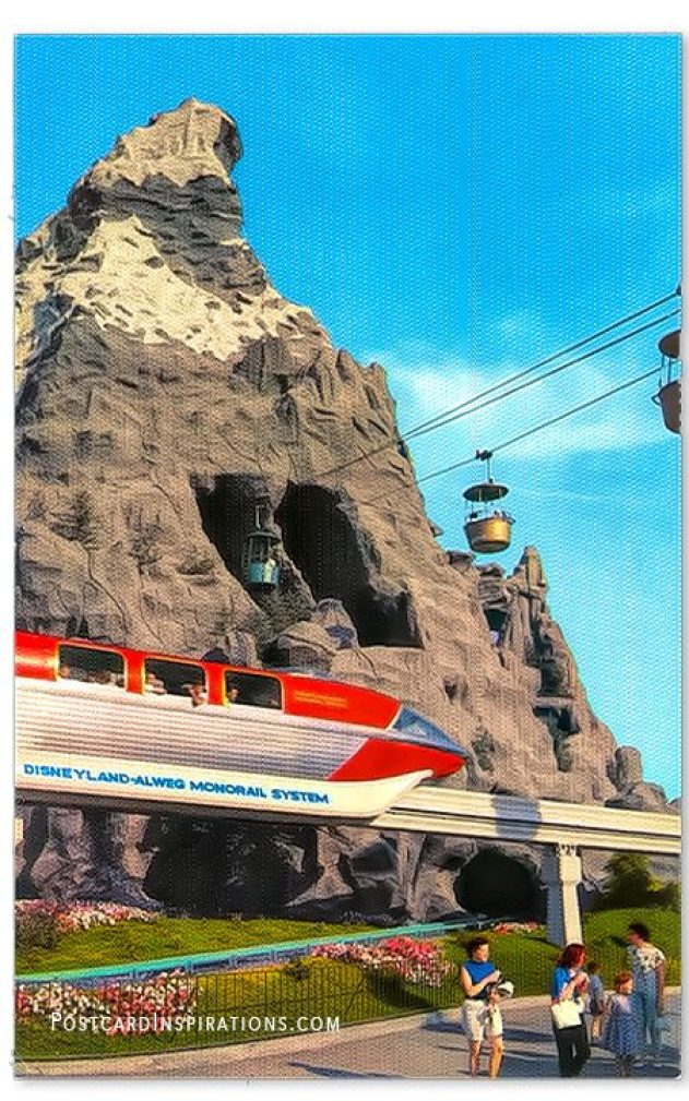Matterhorn and Monorail – First in America, the Disneyland-Alweg Monorail System traverses the area overlooked by the Disneyland Matterhorn Mountain. Guests also enjoy the sky ride which goes through the Matterhorn.