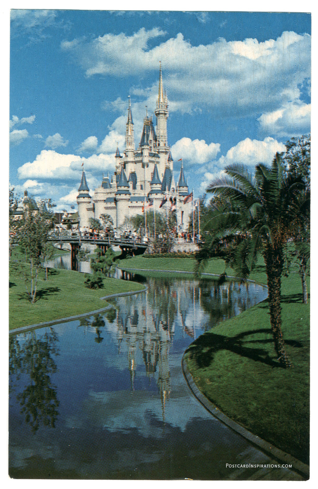 """Cinderella Castle (Postcard)   With its golden gothic spires reaching toward the clouds, Cinderella Castle marks the gateway to fantasyland… home of Peter Pan, Snow White, Mickey Mouse and dozens of other characters """"come to life"""" from famous Walt Disney film Classics."""