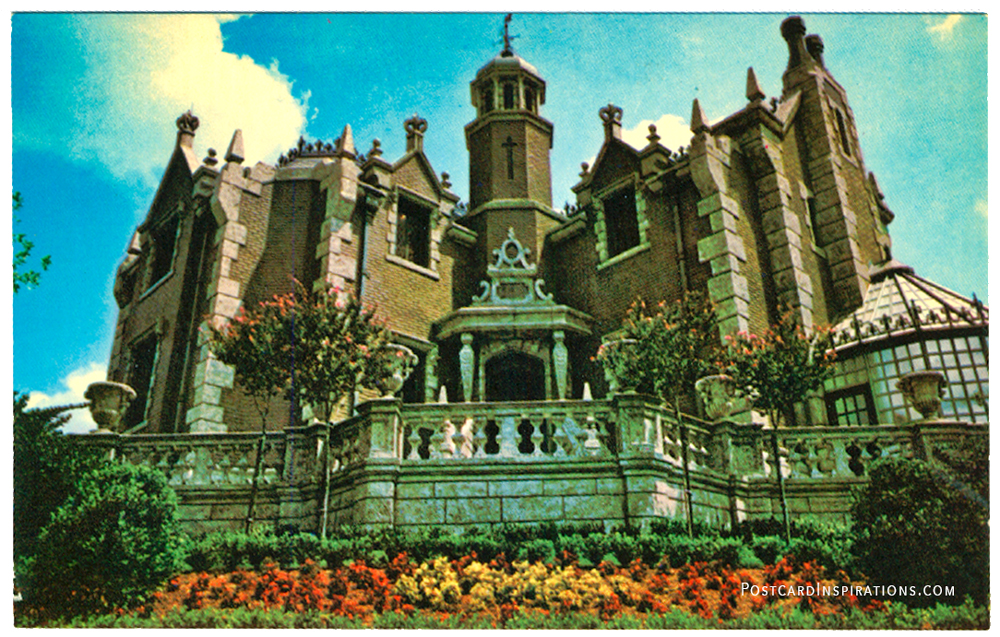 """The Haunted Mansion (postcard) Hovering over to Riverbank, in """"deathly splendor,"""" is a mysterious Haunted Mansion... an active retirement home of 999 ghosts, ghouls, and goblins """"dying"""" to meet visitors."""