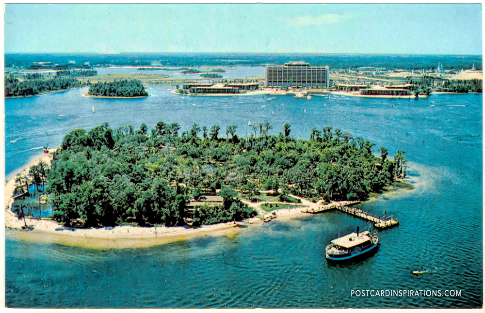 Discovery Island (Postcard) ... Pathways amble through a landscape lush with tropical blossoms. And more than 400 exotic birds run free in the world's largest walk-through aviaries.