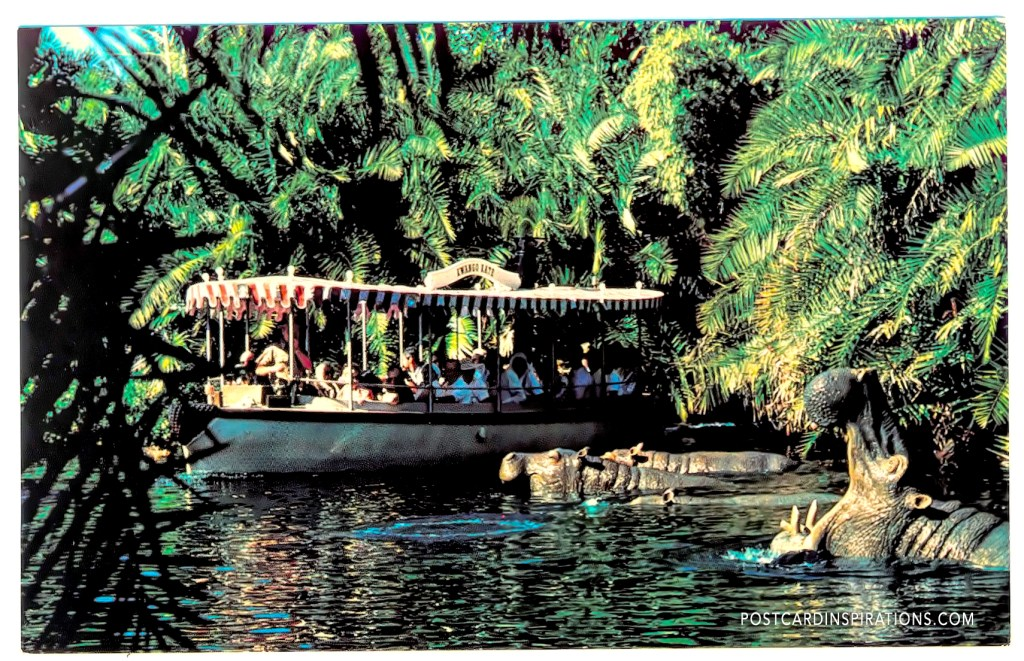 Jungle Cruise (Postcard) ... Adventure lurks at every band on the winding rivers as guests enjoy an explorer's boat cruise in Adventureland.
