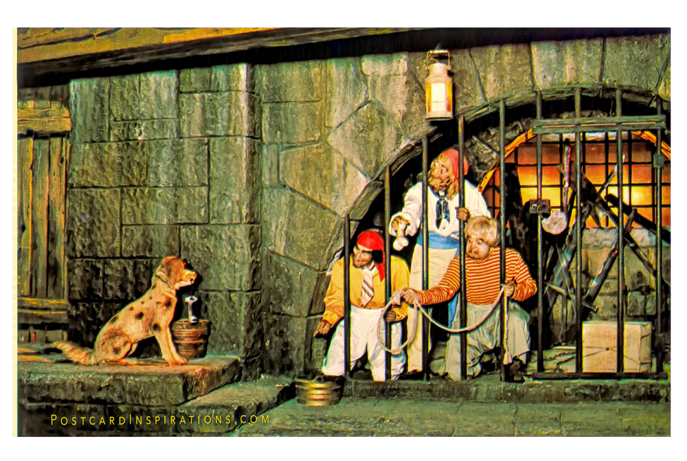 It's A Dogs Life! (Postcard) Pirate rogues, caught looting and burning, try to entice the dungeon master's dog to bring them the key to their jail… All part of Adventureland's swashbuckling Pirates of the Caribbean.
