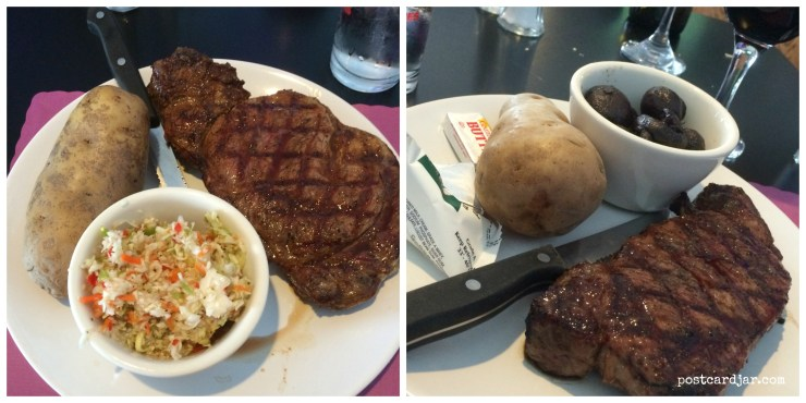 The steaks at Neon were suburb! The ribeye was seasoned and prepared well and and the strip was even better with a side of mushrooms.