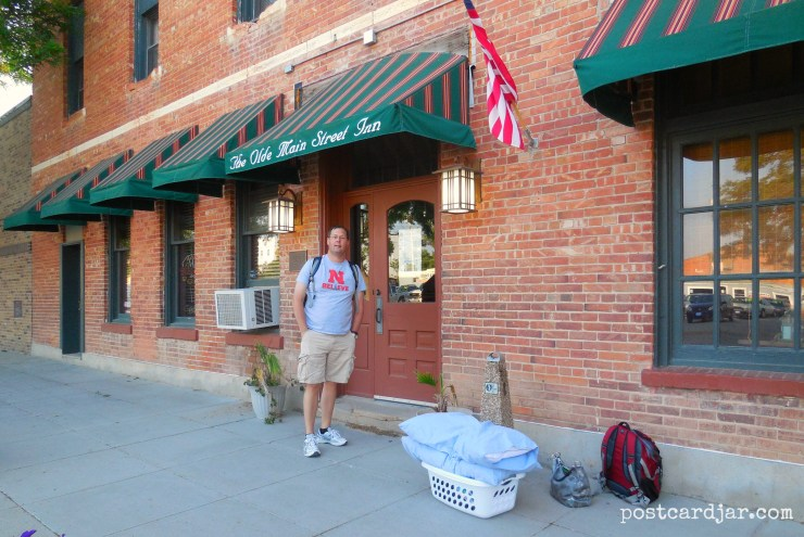 Checking in to the Olde Main Street Inn in Chadron, NE. (Photo by Ann Teget for postcard jar.com)