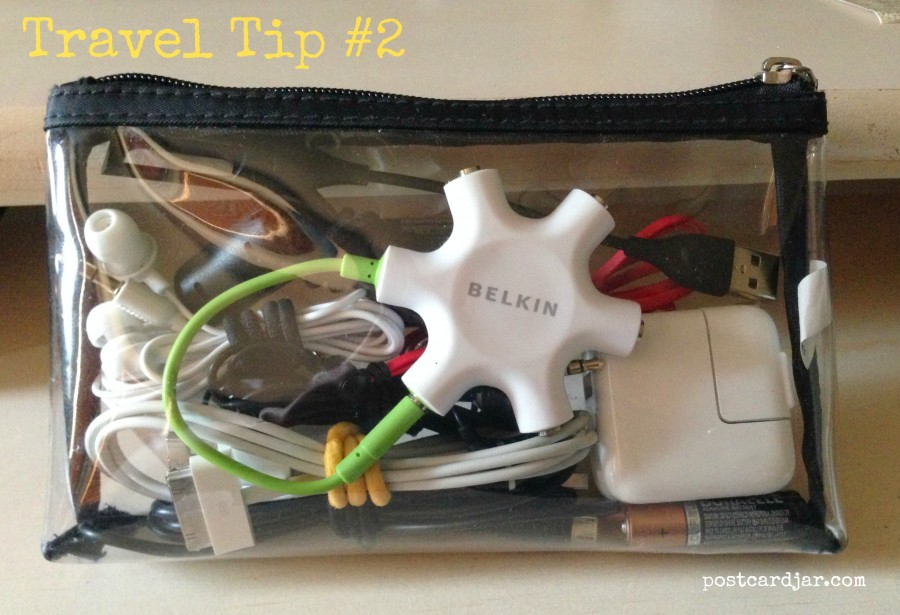 Travel Tip #2 – Put all of your cords in one see-through bag.