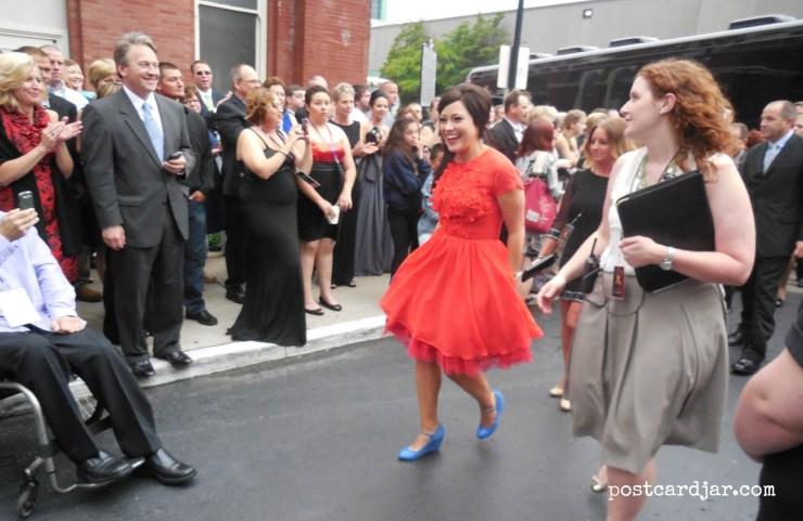 Christian music artist Kari Jobe arrives at the K-LOVE Music Awards.