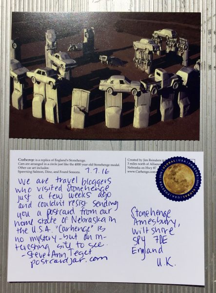 We couldn't resist sending a postcard from Carhenge to Stonehenge in England.