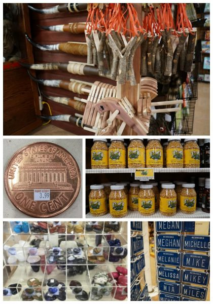 Fort Cody Trading Post had hundreds of souvenirs including slingshots, giant pennies, Nebraska-grown popcorn, polished rocks and those little bicycle license plates (including the correct spelling of Meghan's name).