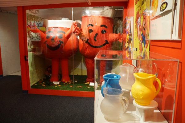 These Kool-Aid man costumes were are display at the Hastings Museum.