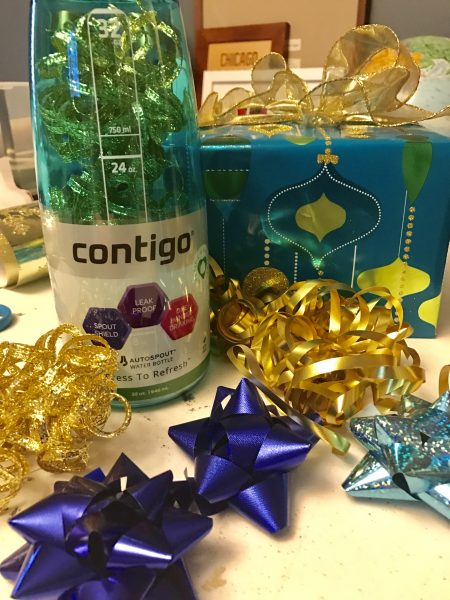 The Contigo water bottle we got for Meg was a great place to store bows and ribbons for the trip.