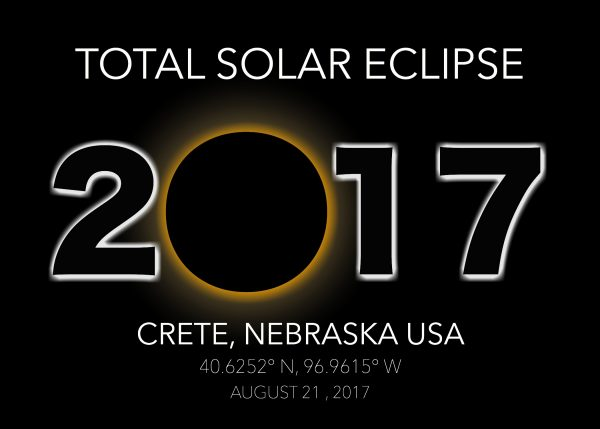 Total solar eclipse postcard from Crete, Nebraska