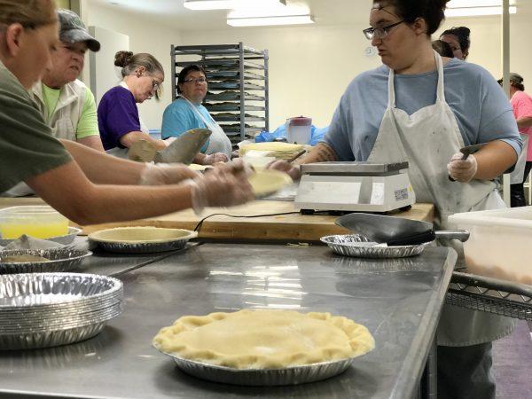 Village Pie Makers in action, Eustis, Nebraska