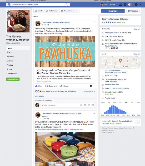 The Pioneer Woman Mercantile Facebook page