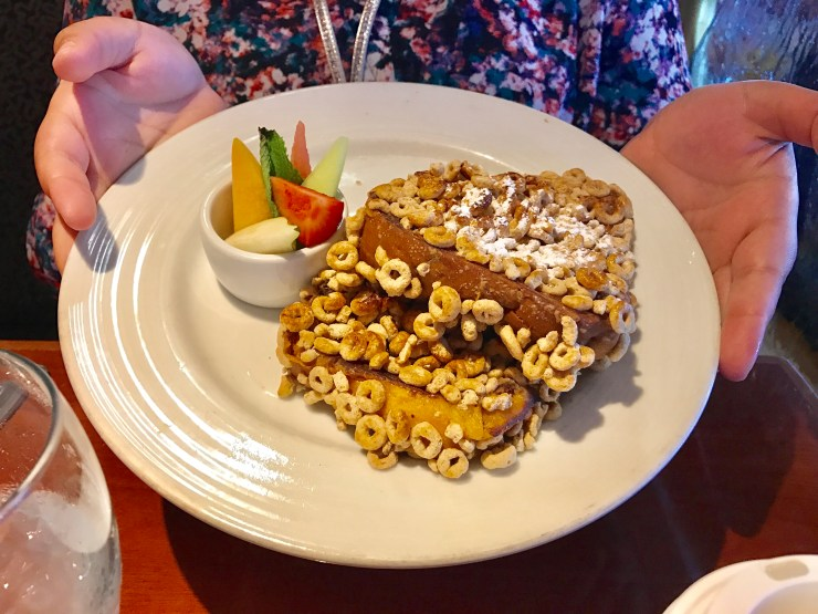 Funnest French toast crusted with a choice of Honey Nut Cheerios, Raisin Bran, Fruit Loops or Frosted Flakes.