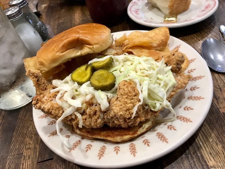 Fried chicken sandwich at The Pioneer Woman Mercantile in Pawhuska, Oklahoma.