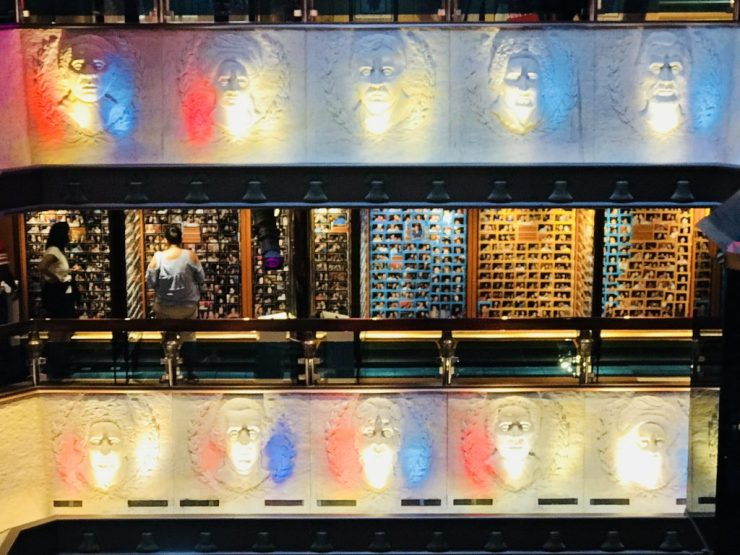 Lighted faces on the Carnival Valor