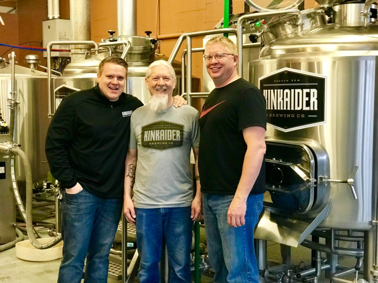 Three of the four owners of Kinkaider Brewing Co. in Broken Bow, Nebraska