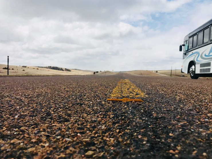 The view from the middle of the highway in the Nebraska Sandhills.