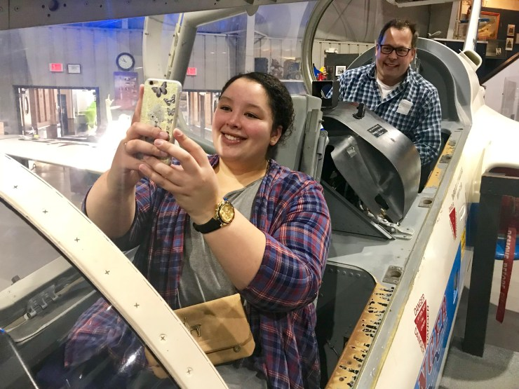 Meghan and Steve take a selfie in an MD-80 at the Tulsa Air and Space Museum.