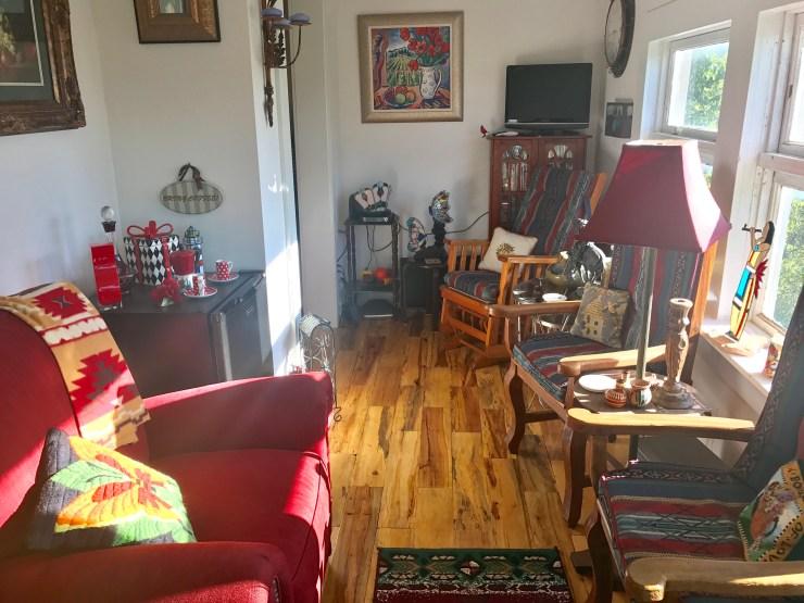A sunny sitting room at the Million Dollar Inn in Pawhuska, Oklahoma.