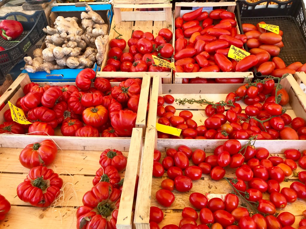 Fresh tomatoes in Siena, Italy, used in making delicious Tuscan food