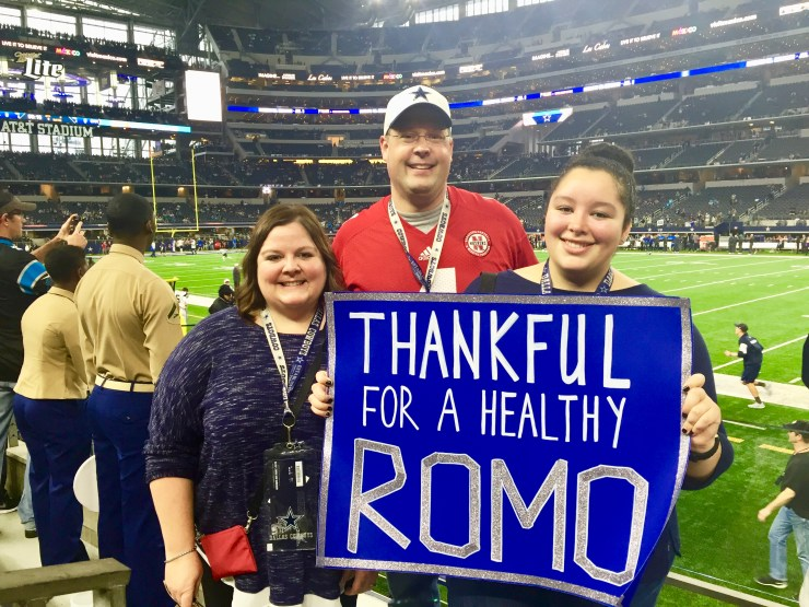 Ann Steve and Meghan at the Cowboys Stadium.
