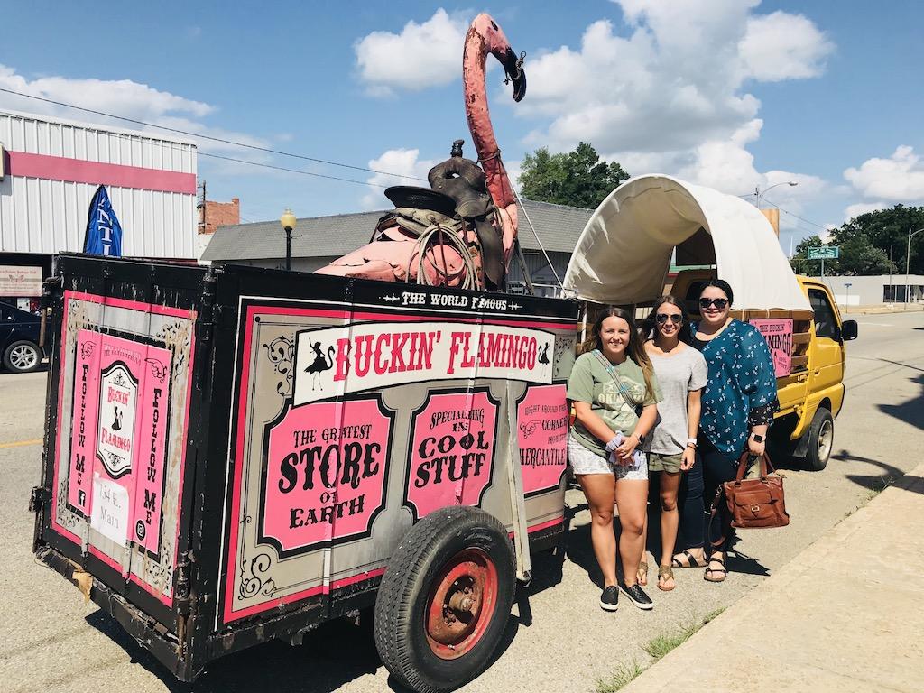 Truck and flamingo trailer at the Buckin Flamingo in Pawhuska, Oklahoma