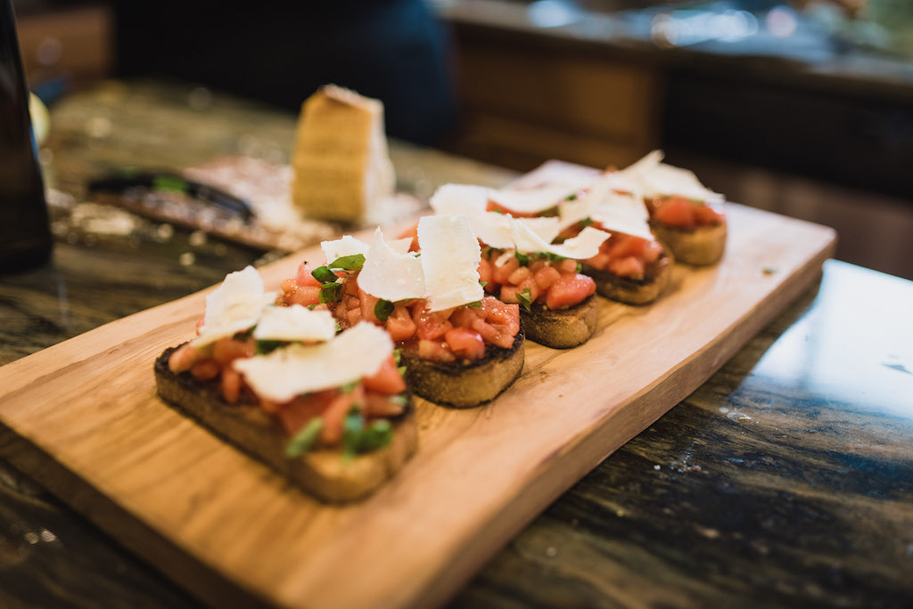 Finished bruschetta with The Chef and the Dish
