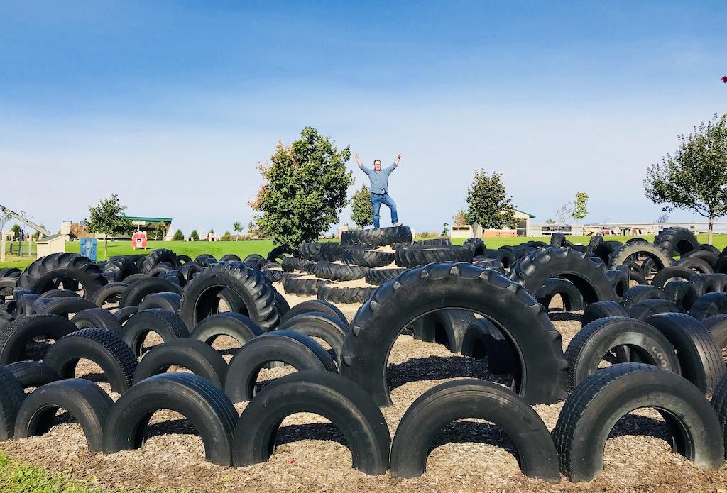 Tire playground at Pinter's Gardens and Pumpkins, Decorah, Iowa