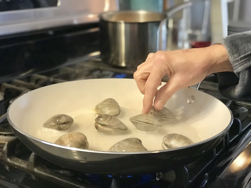 Chef and the Dish steaming clams