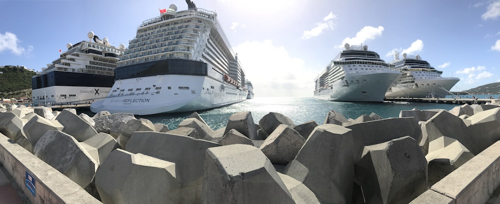 Four Celebrity Cruises ships in port at the same time in St. Maarten .