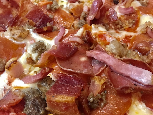 P-Town meat pizza close-up unforgettable pizza