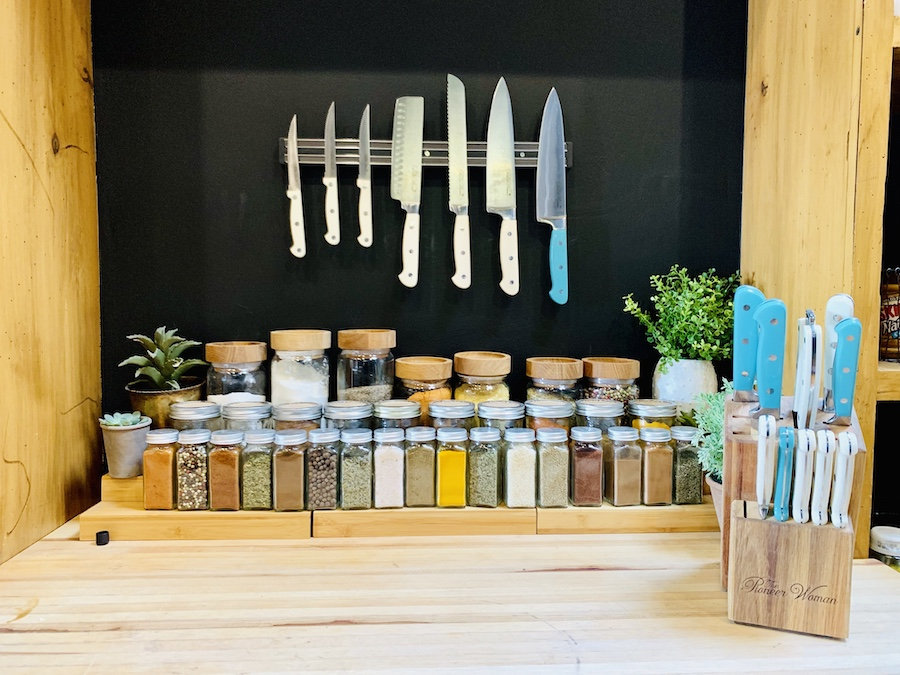 Lodge at Ree Drummond's Ranch pantry spices and knives