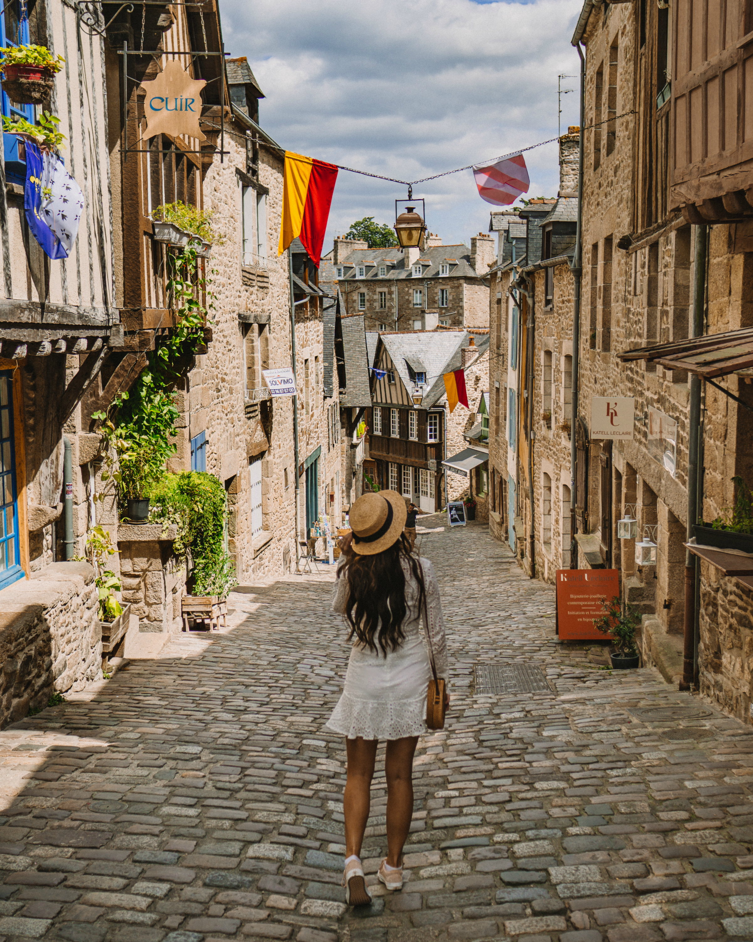 Walking down Rue du Petit Fort, Dinan, France
