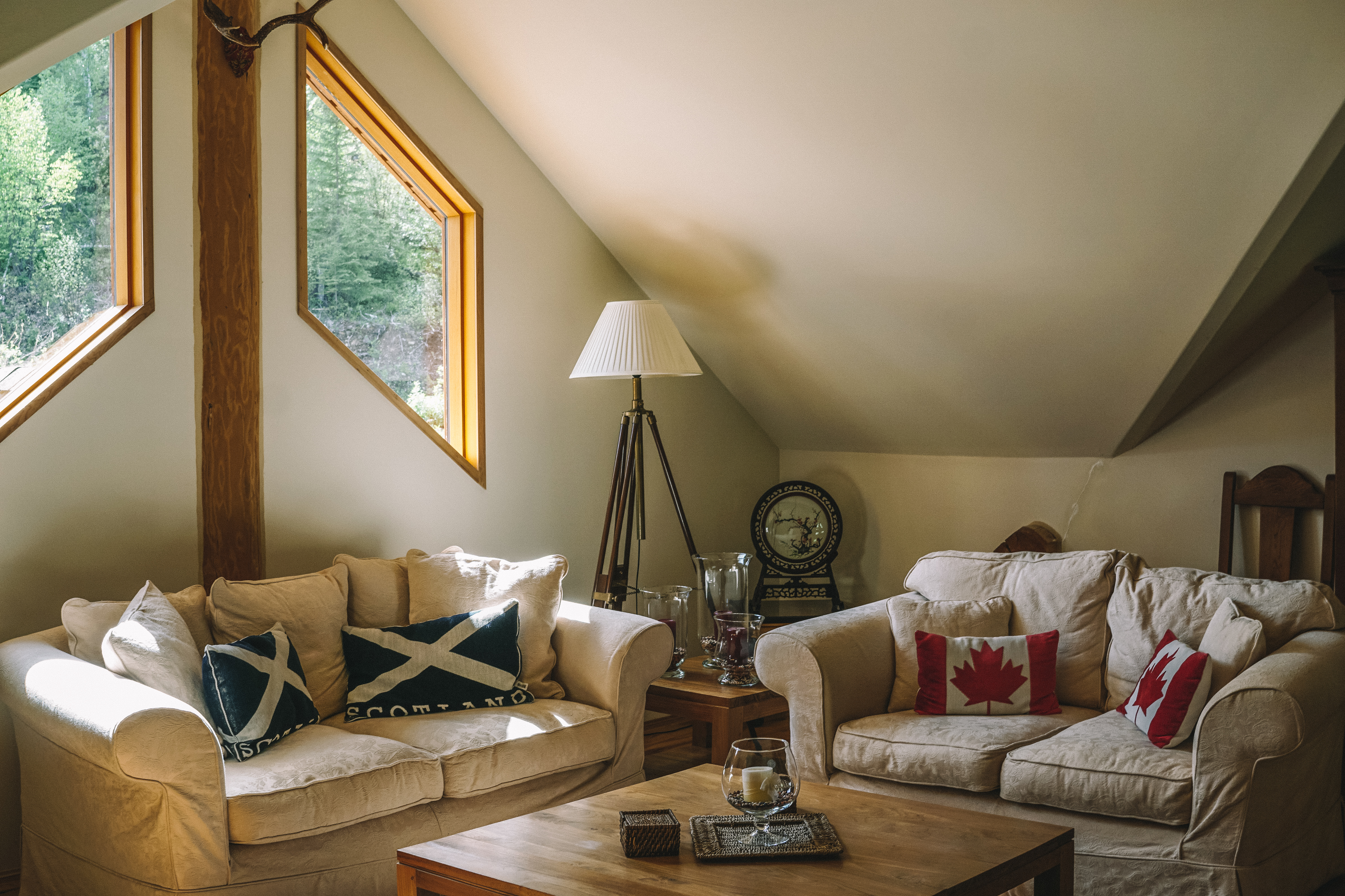 Upstairs lounge area at Clearwater Springs Ranch, British Columbia