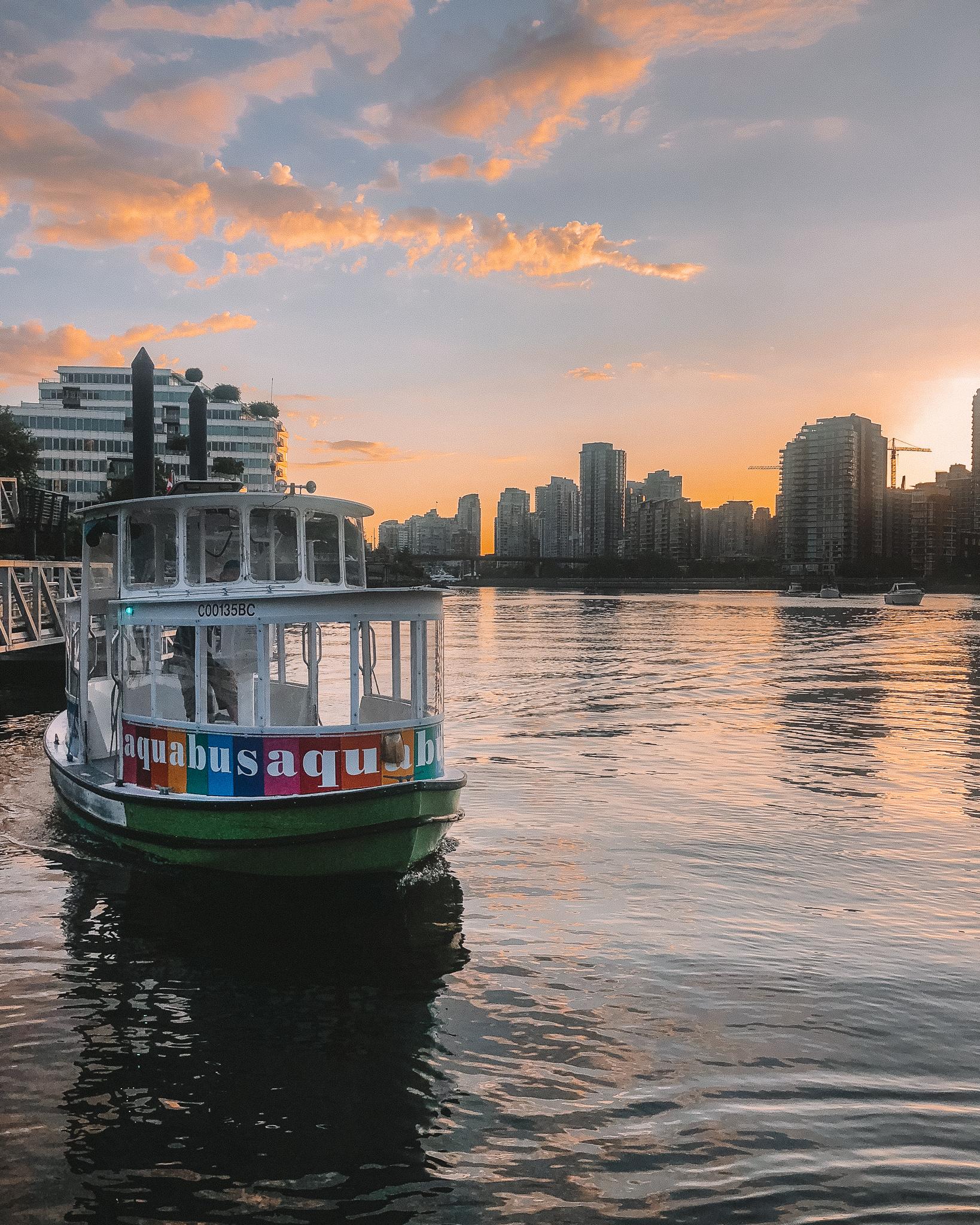 Vancouver Aquabus at sunset