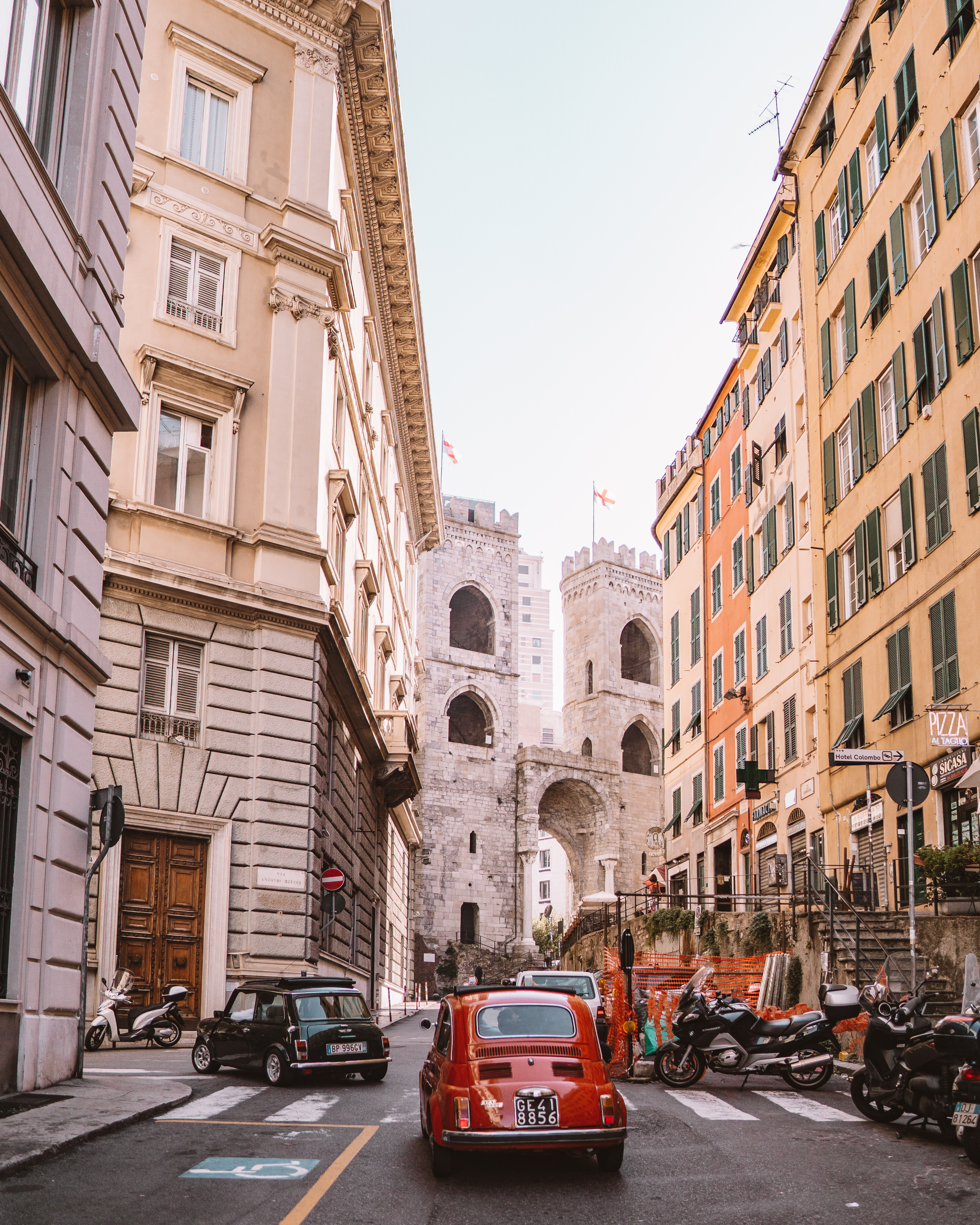 Driving through Genoa with Slow Vintage Tours