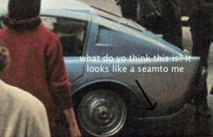 Detail of a seam on the rear of a mystery classic car