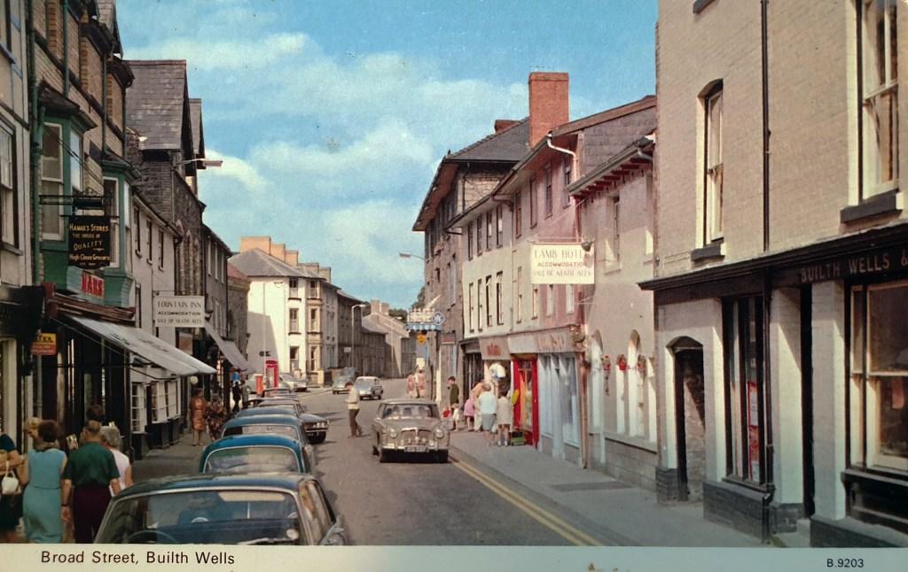 Postcard of Broad Street in Builth Wells