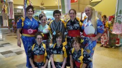 As part of the Obon festival, my ALT friends and I dressed in yukata and took part on the Awa-odori dance