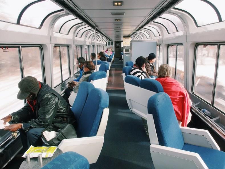 Chicago Snow Sightseer Car Amtrak
