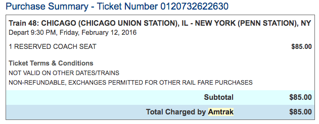Chicago Union Station to New York Penn Station Amtrak Train Ticket West Coast to East Coast USA by Train