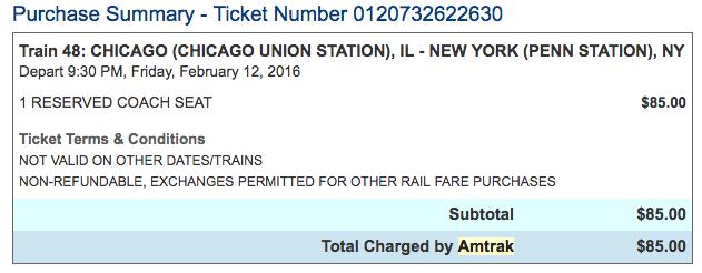 Chicago Union Station to New York Penn Station Amtrak Train Ticket West Coast to East Coast USA by Train