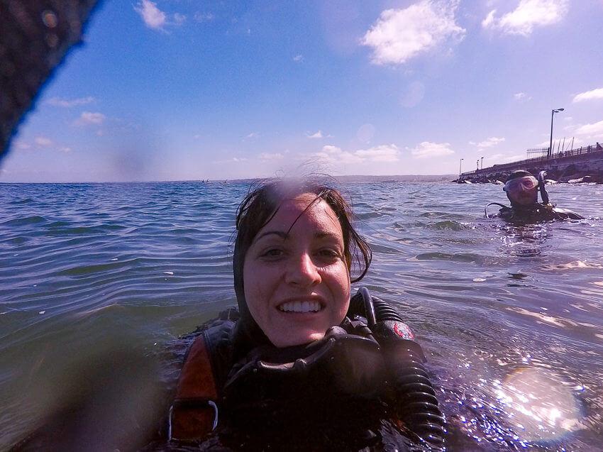 diving in monterey bay selfie
