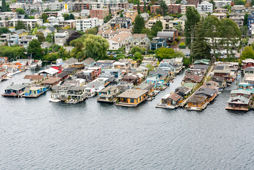 viewing seattle by seaplane houseboats