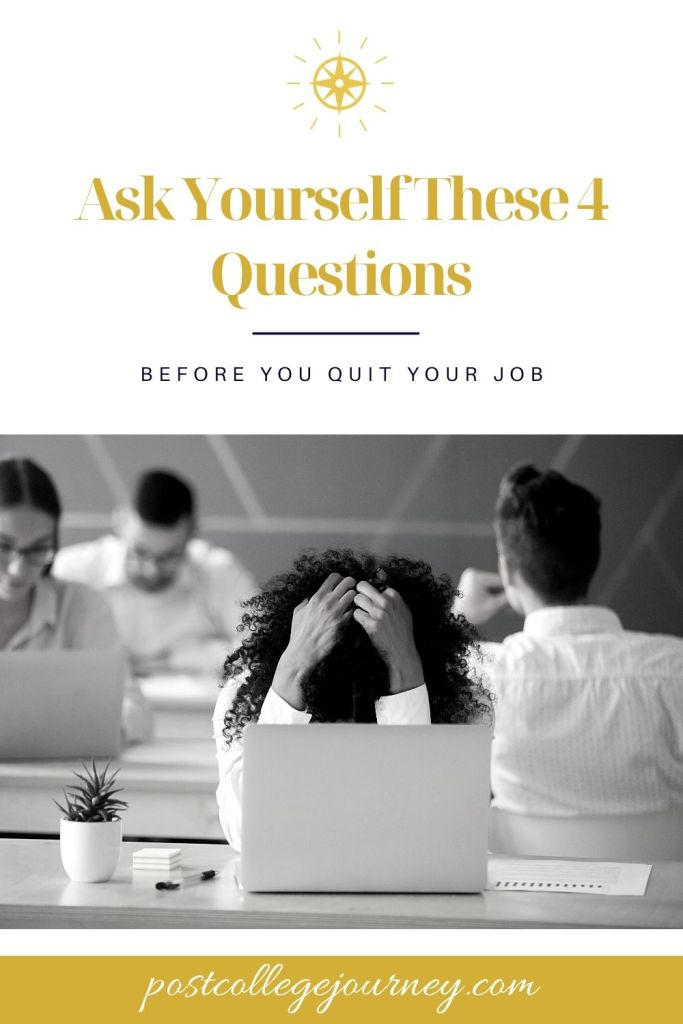 """frustrated employing sitting in front of her laptop asking herself """"should I quit my job?"""""""
