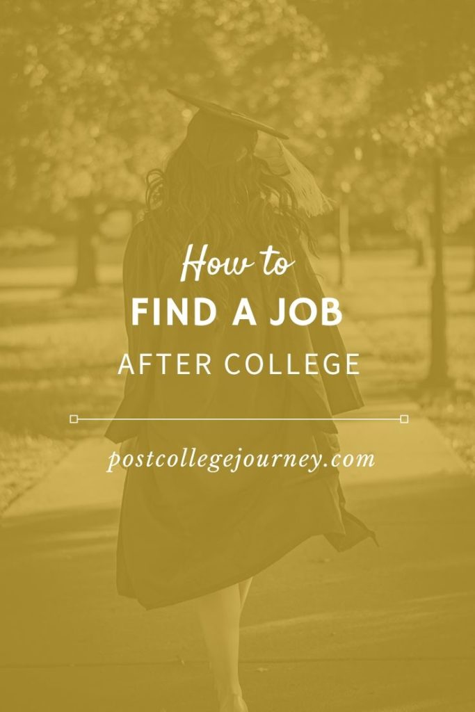 how to find a job after college pinterest image with college graduate walking away