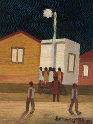 Noite na favela, 1972, óleo sobre cartão sobre eucatex, 25x20cm, Galeria Estação