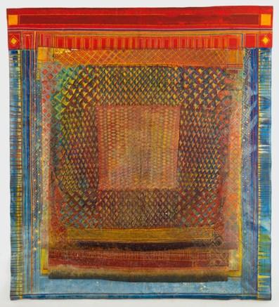 """""""Muxarabiê"""", 2000 acrílica sobre lona, resina e acrílica coagulada em papel celofane e madeira 302 x 270 cm"""