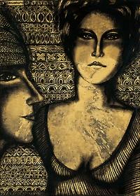 Duas Mulheres aquarela e nanquim s/ papel encerado colado em chapa de madeira industrializada, ass. e dat. 1972 sup. esq. 70 x 50 cm